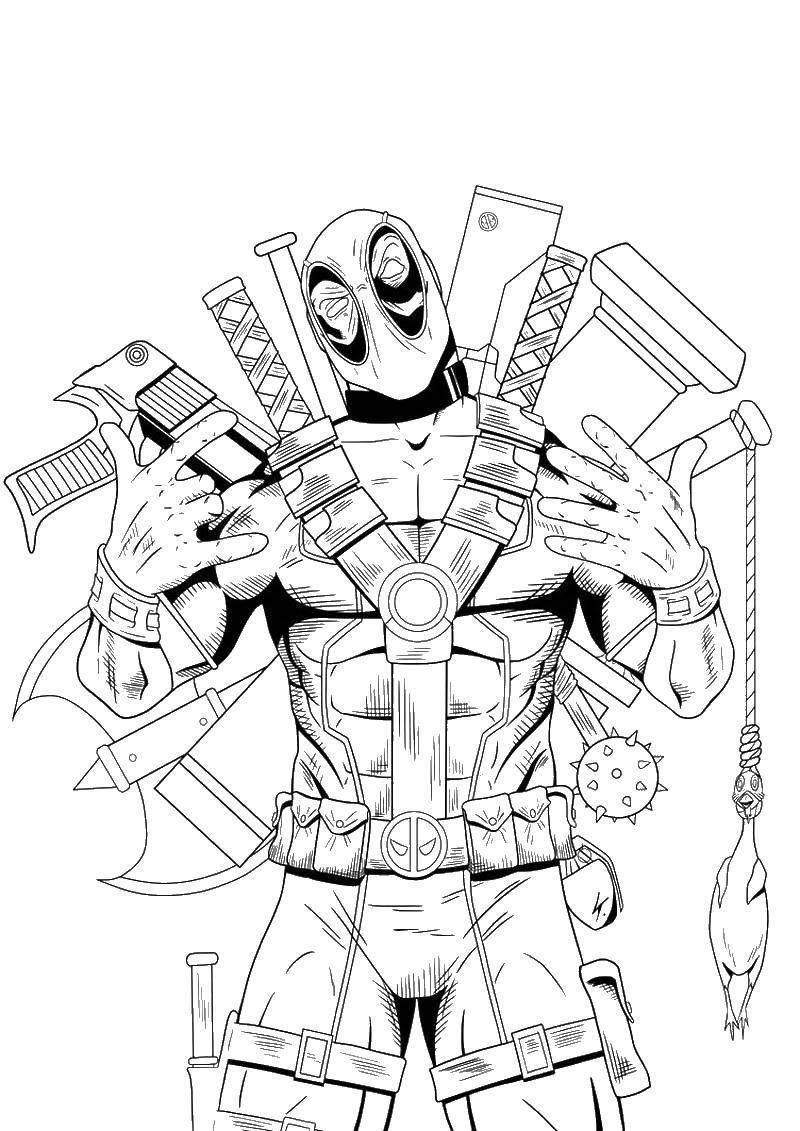 Раскраска Дэдпул и оружия Скачать дэдпул, пистолет, кувалда, маска.  Распечатать ,дэдпул,