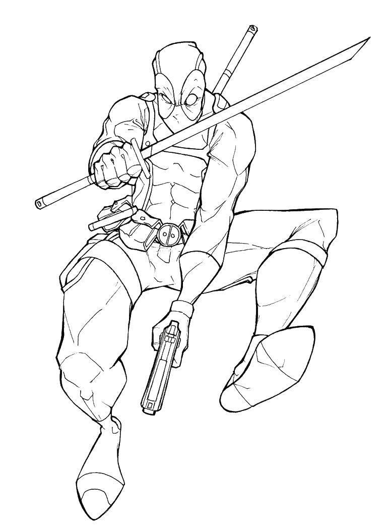 Раскраска Дэдпул с мечом Скачать дэдпул, пистолет, маска.  Распечатать ,дэдпул,