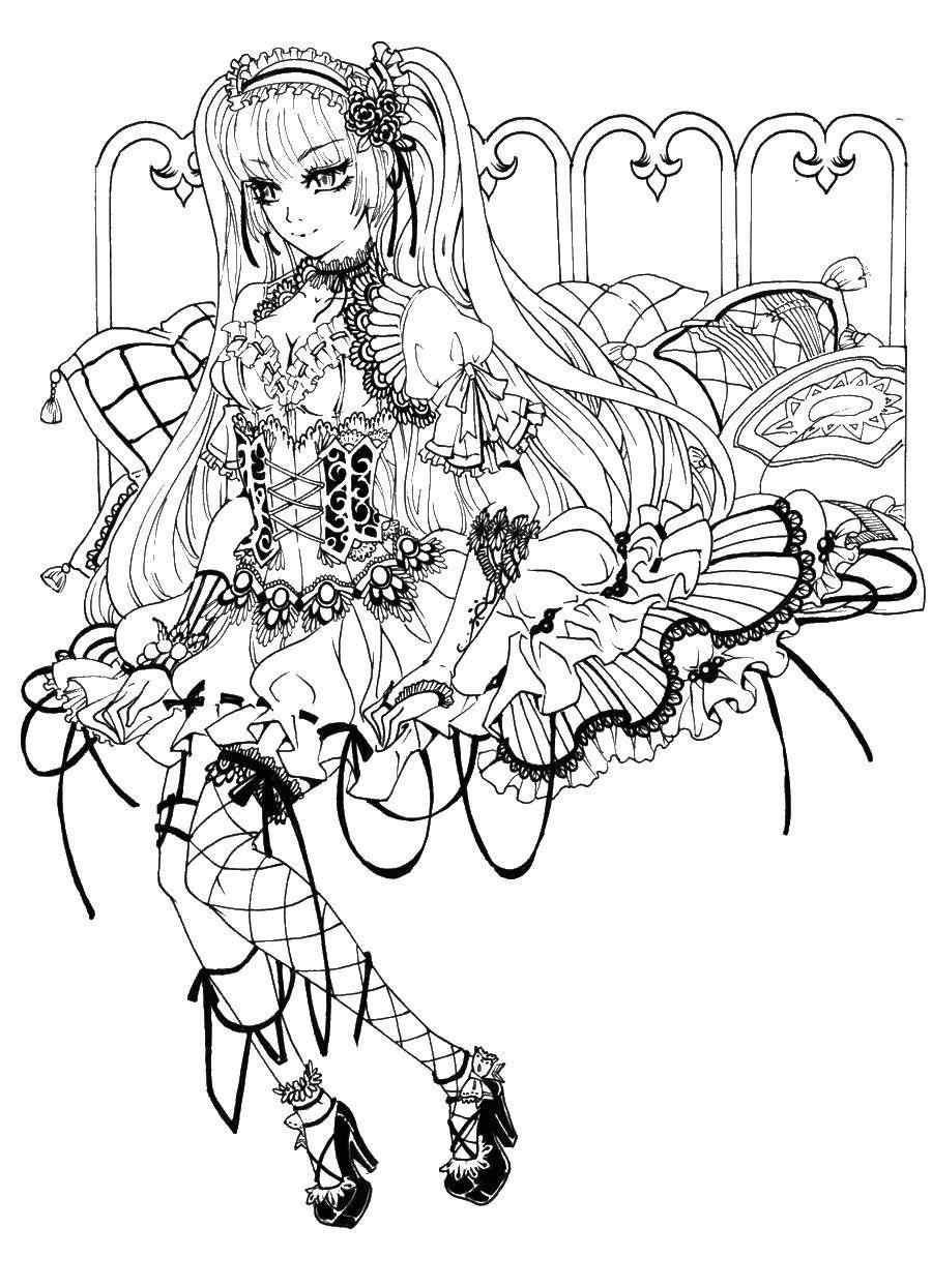 Раскраска аниме Скачать ,девочка, цветы, Э, буква,.  Распечатать