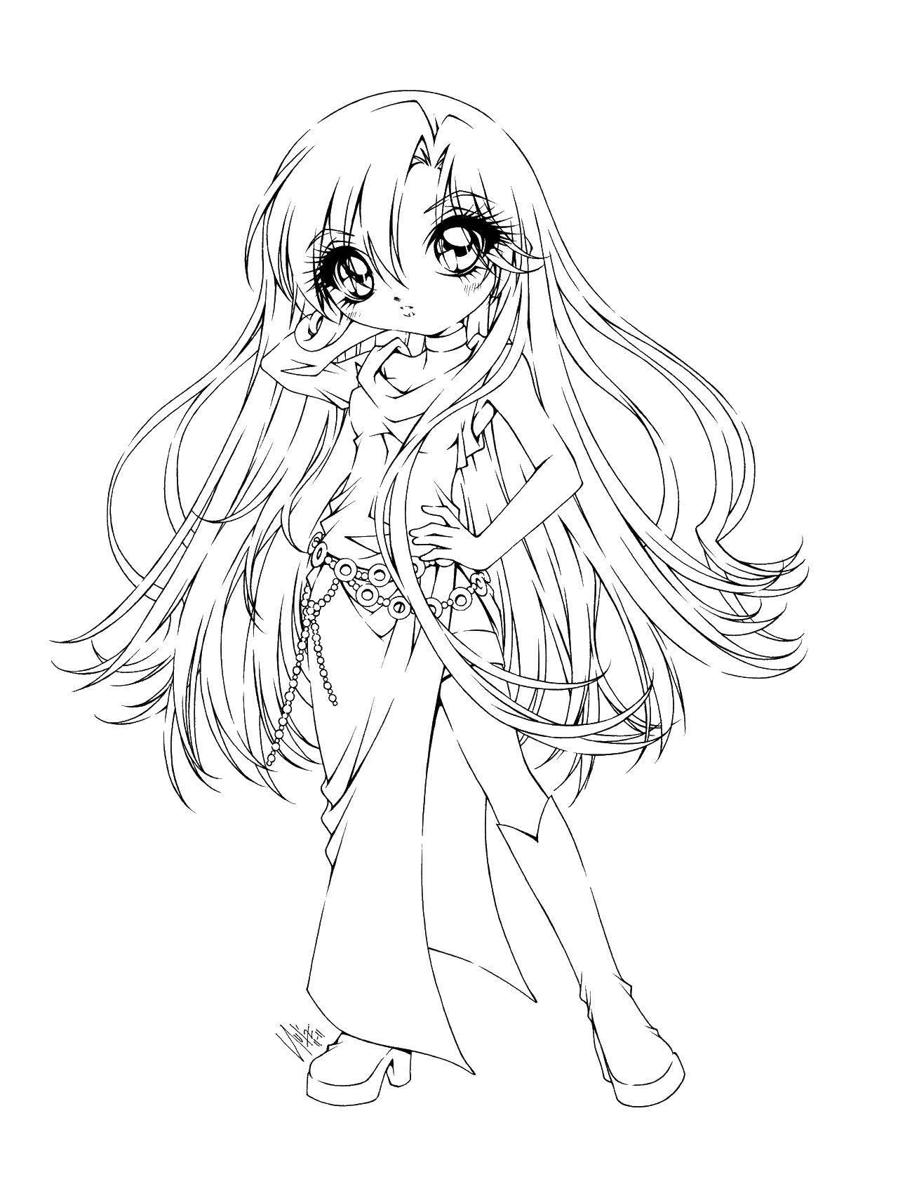 Раскраска Девочка из аниме с большими глазами Скачать аниме, девочка.  Распечатать ,аниме,