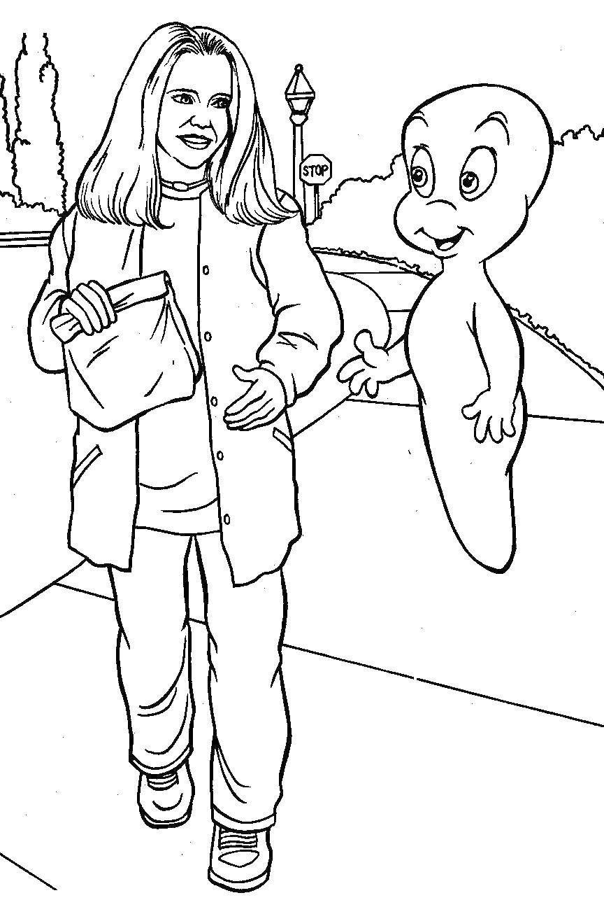 Раскраска Девочка с каспером Скачать Приведение, Каспер.  Распечатать ,Приведение Каспер,