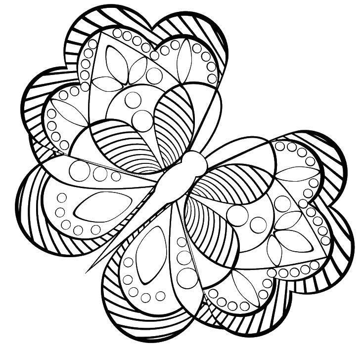 Раскраска Геометрическая бабочка Скачать ,геометрия, бабочка,.  Распечатать