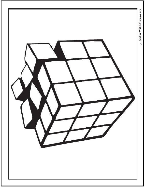 Раскраска Кубик рубика Скачать ,фигуры, кубик Рубика,.  Распечатать