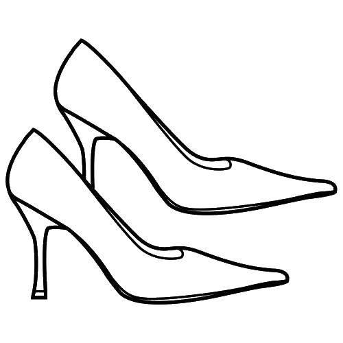 Раскраска Модные туфли на каблучке Скачать ,Одежда, обувь, туфли,.  Распечатать