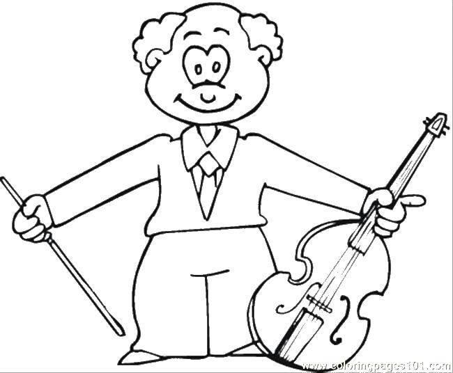 Раскраска Музыкант с виолончелью Скачать музыкант, виолончель.  Распечатать ,Скрипка,