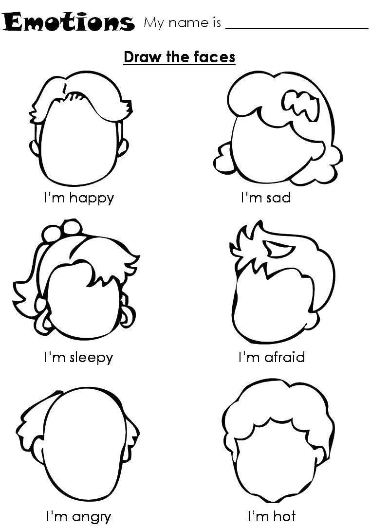 Раскраска Нарисуй эмоции Скачать ,эмоции, дети, лица,.  Распечатать