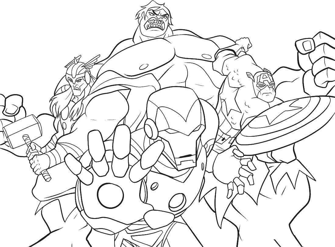 Раскраска Разные супрегерои Скачать комиксы, мультфильмы, супергерои.  Распечатать ,супергерои,