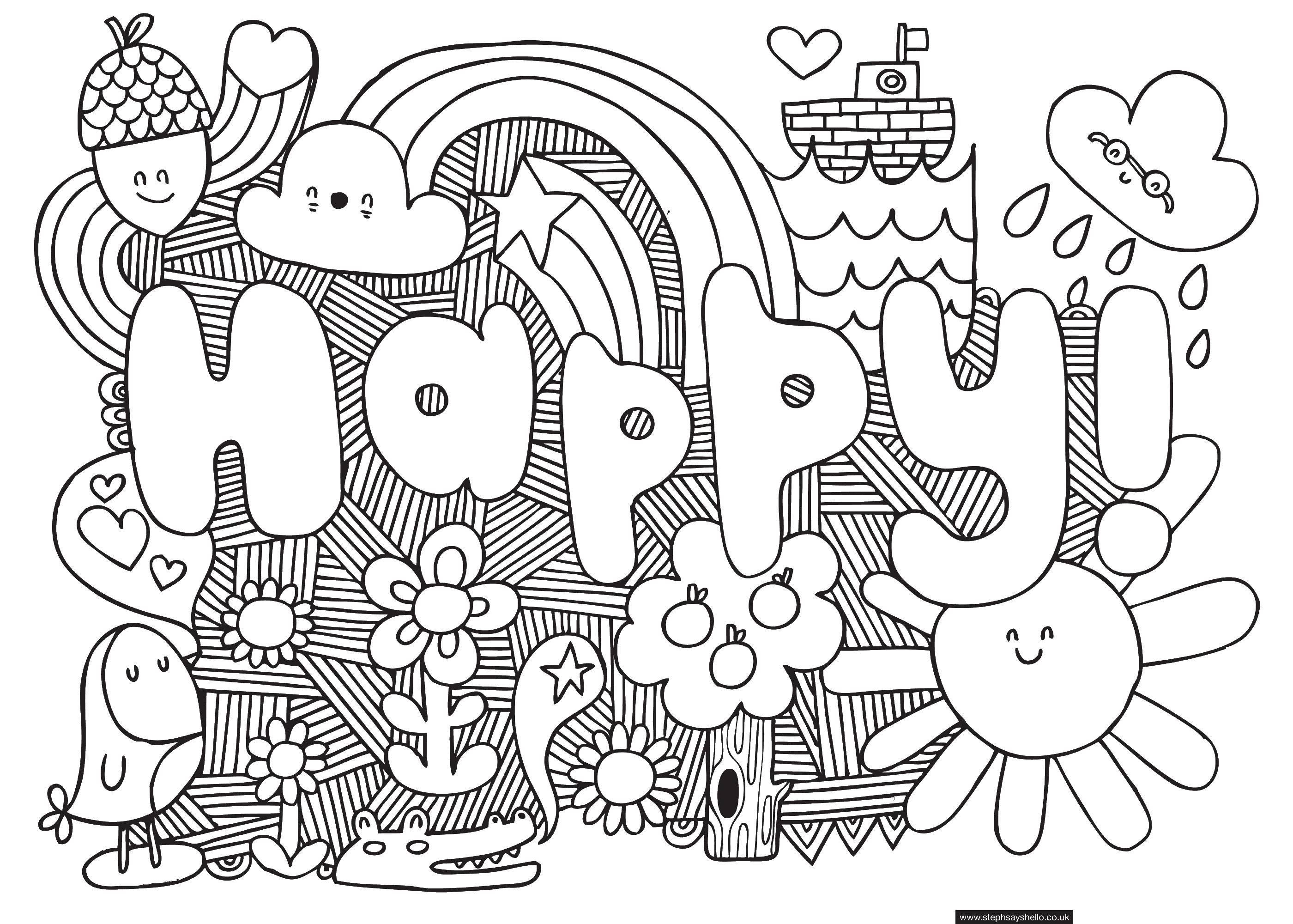 Раскраска Счастливый Скачать счастливый, слова.  Распечатать ,английские слова,
