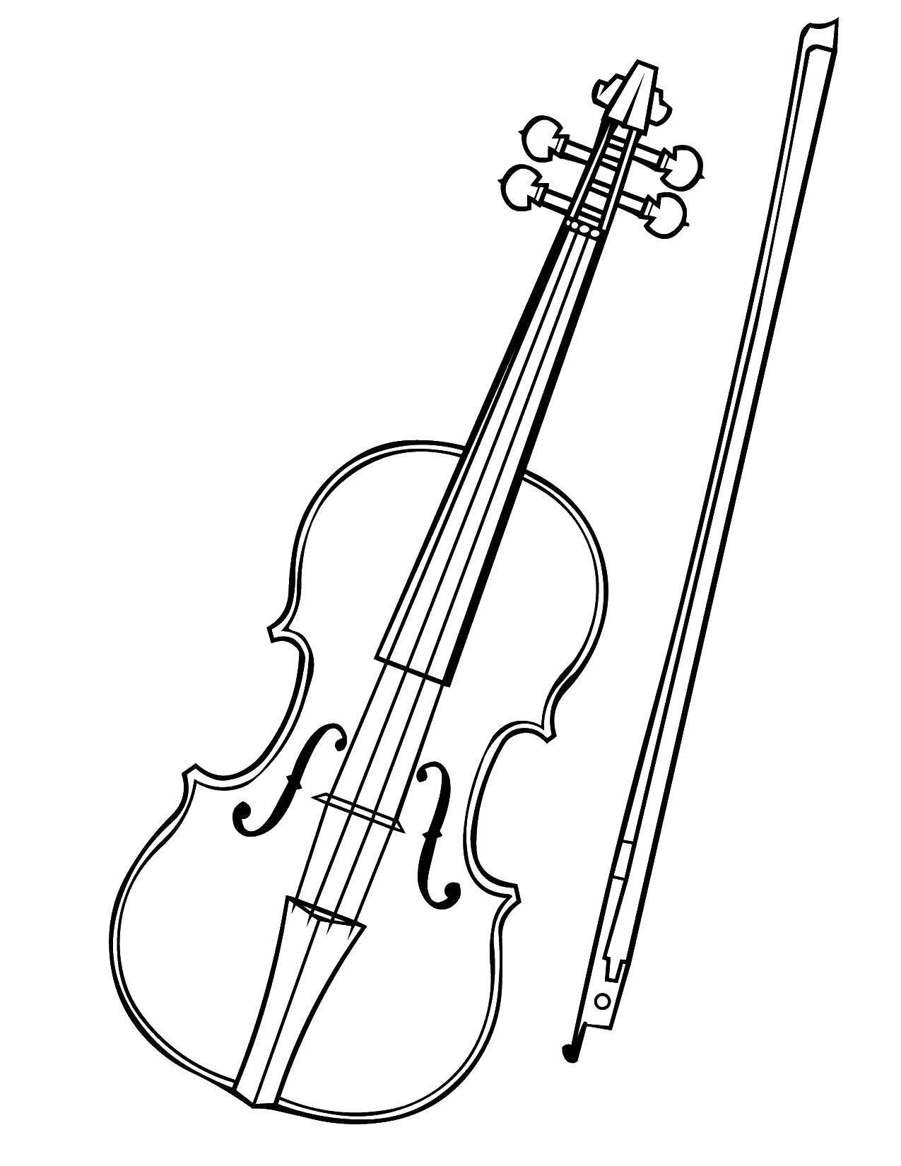 Раскраска Скрипка музыкальный инструмент Скачать скрипка, струны.  Распечатать ,Скрипка,
