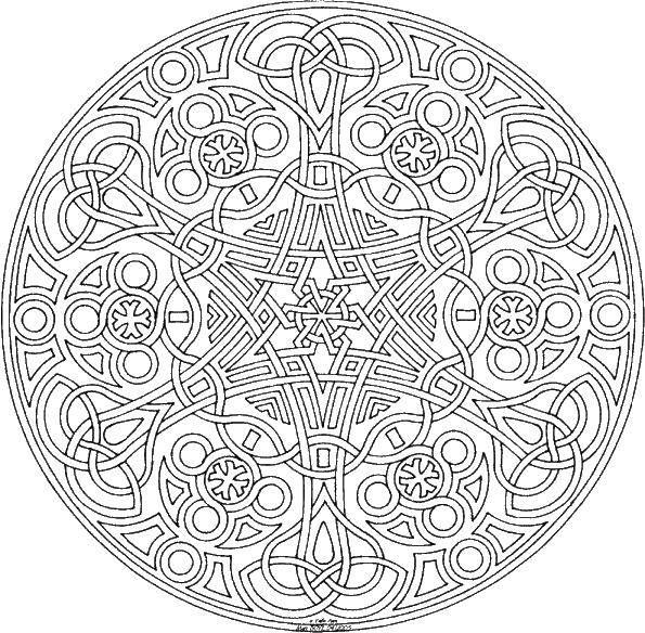 Раскраска Сложные узорчики Скачать дизайн, узорчики, круг.  Распечатать ,Сложный дизайн,