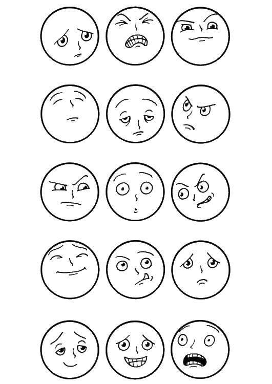 Раскраска Смайлы с различными эмоциями Скачать ,эмоции, смайлики, смайлы,.  Распечатать