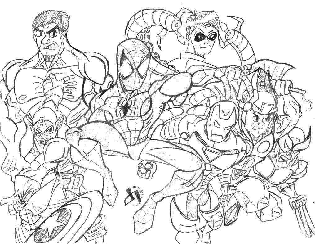 Раскраска Супергерои марвел Скачать супергерои марвел.  Распечатать ,супергерои,