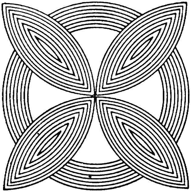 Раскраска С геометрическими фигурами Скачать ,Цветы,.  Распечатать