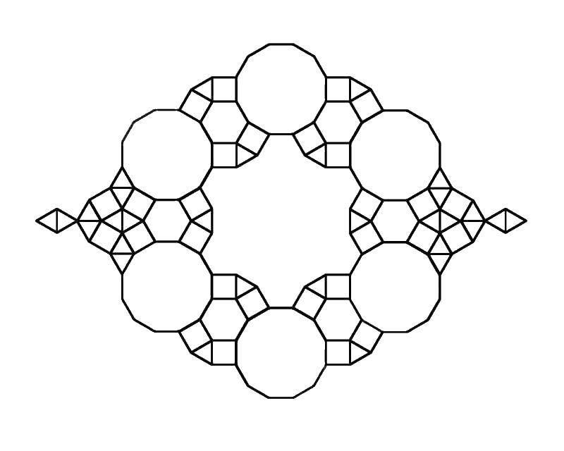 Раскраска Узор из геометрических фигур Скачать ,геометрические фигуры, узоры,.  Распечатать
