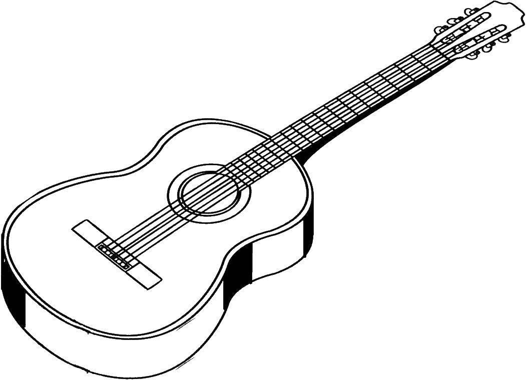 Раскраска Электрогитара Скачать ,гитара, струны,.  Распечатать