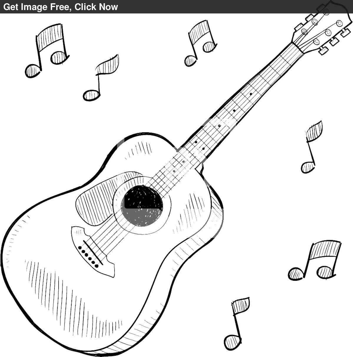 Раскраска Электрогитара Скачать ,гитара, струны, ноты,.  Распечатать