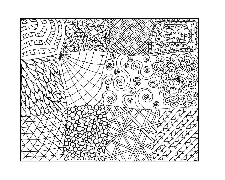 Название: Раскраска Квадраты с узорами. Категория: С узорами. Теги: Узоры, геометрические.