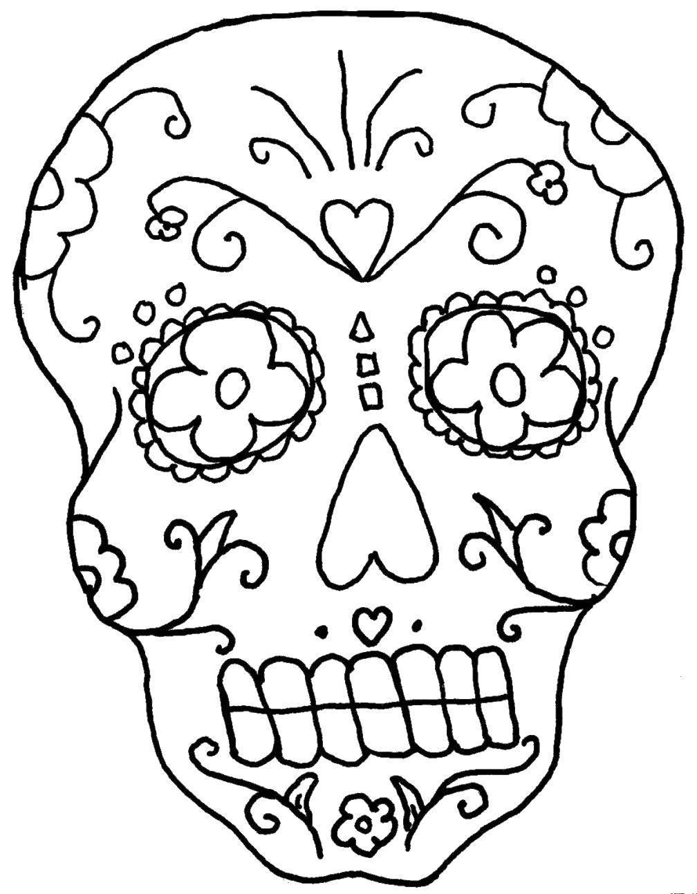 Раскраска череп Скачать .  Распечатать