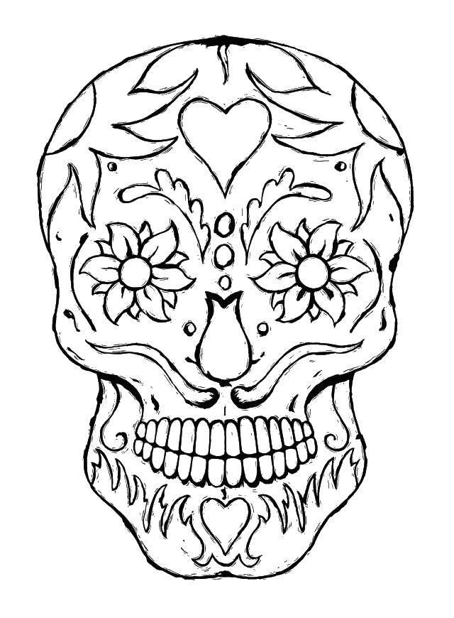 Раскраска Череп с цветочками и языками пламени. Скачать череп, пламя, цветы.  Распечатать ,Череп,
