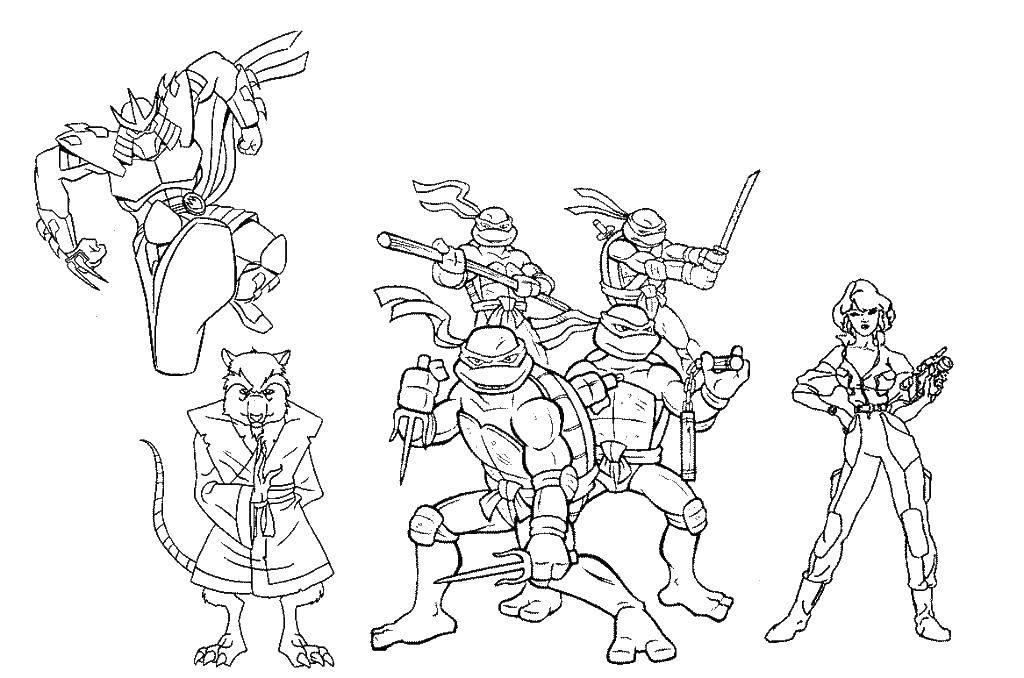 Раскраска Черепашки ниндзя, сплинтер, шредер, эйприл Скачать мультфильмы, черепашки ниндзя.  Распечатать ,черепашки ниндзя,