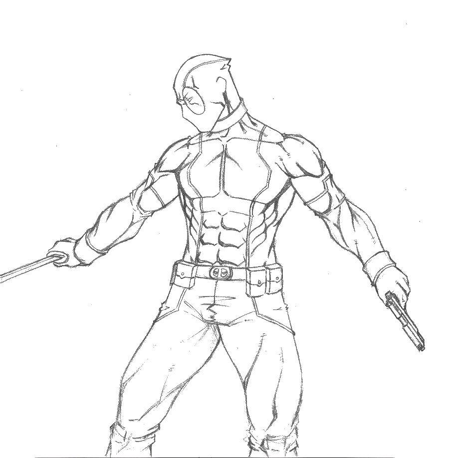 Раскраска Дэдпул с мечом и пистолетом Скачать дэдпул, пистолет, маска.  Распечатать ,дэдпул,