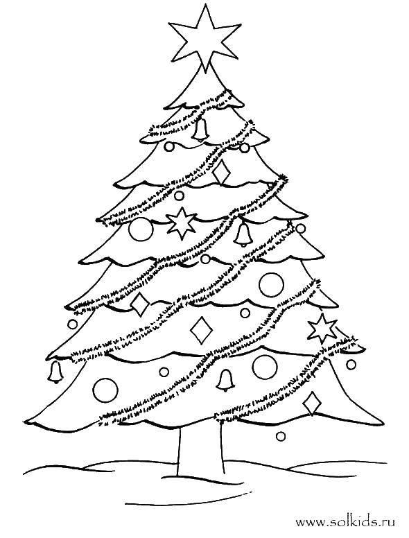 Раскраска Елочка с мишурой и украшениями Скачать Рождество, елка, Новый год.  Распечатать ,новогодняя елка,