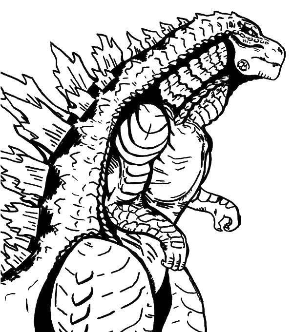 Раскраска Годзилла Скачать ,Рептилия, ящерица,.  Распечатать