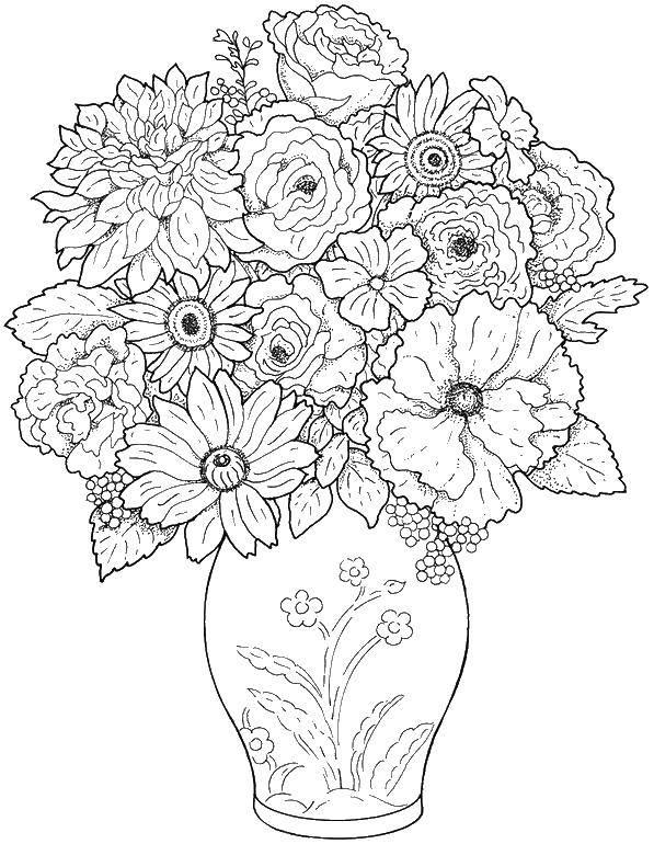 Раскраска Красивая ваза с большим количеством цветов Скачать цветы, ваза, .  Распечатать ,цветы,