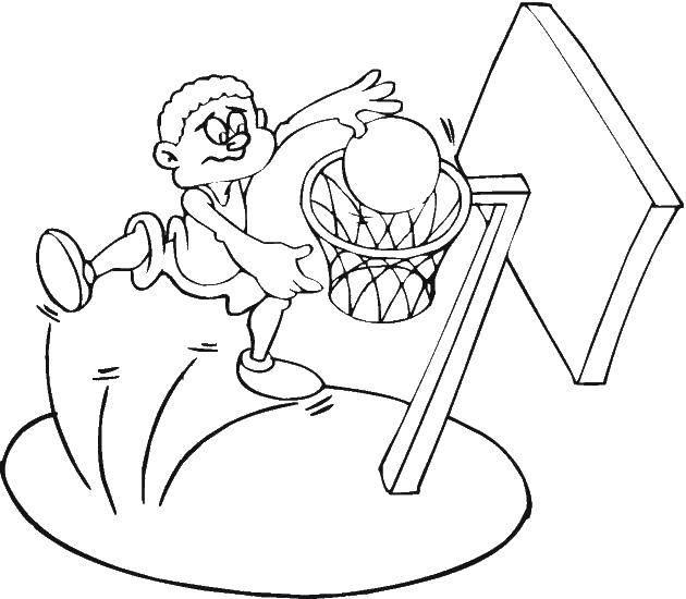 Раскраска Мальчик играет в баскетбол Скачать баскетбол, мяч, баскетболист.  Распечатать ,баскетбол,