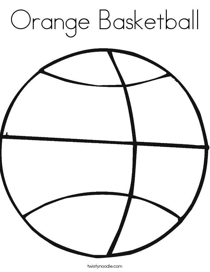 Раскраска Оранжевый даскетбольный мяч Скачать баскетбол, спорт, мяч.  Распечатать ,баскетбол,