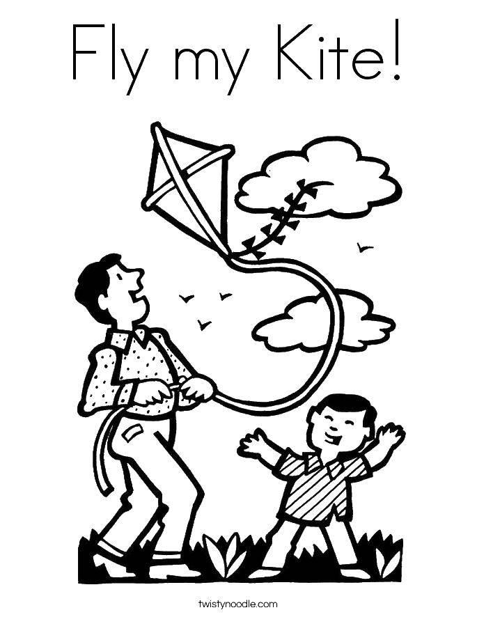 Раскраска Папа с сыном играют с воздушным змеем. Скачать воздушный змей, игры, семья.  Распечатать ,воздушный змей,