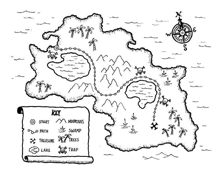 Раскраска Пиратская карта Скачать карта, компас, пираты.  Распечатать ,Карты,
