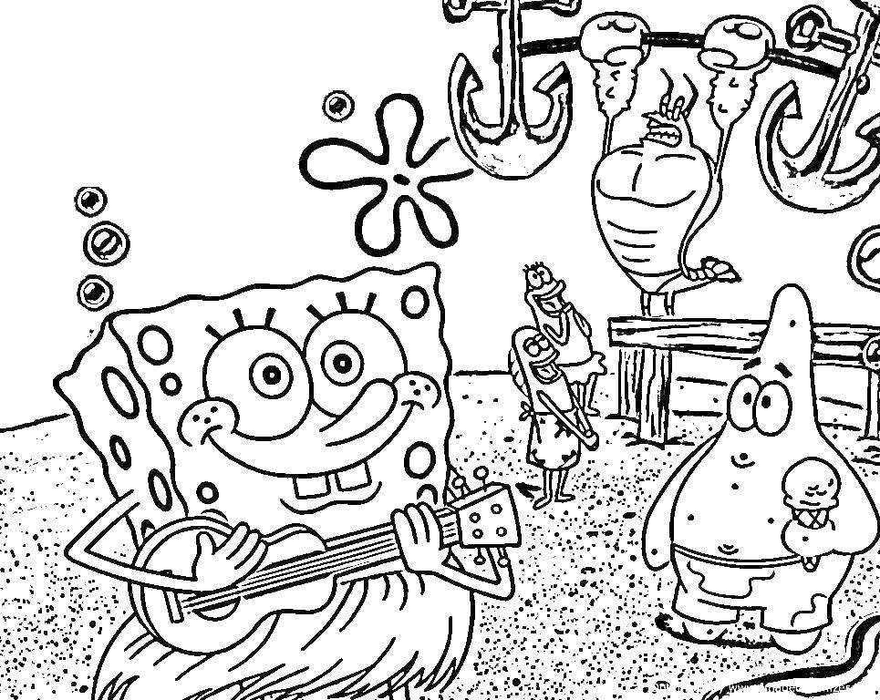 Раскраска Спанч боб играет на гитаре, патрик держит мороженное, а лобстер лари поднимает якоря. Скачать Персонаж из мультфильма, Спанч Боб, Губка Боб.  Распечатать ,Персонаж из мультфильма,
