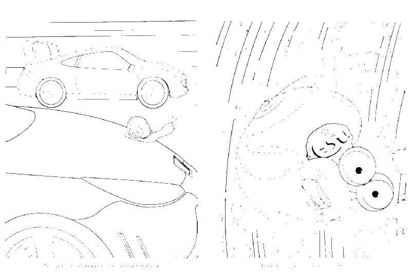 Раскраска машины Скачать ,Листья лопуха,.  Распечатать