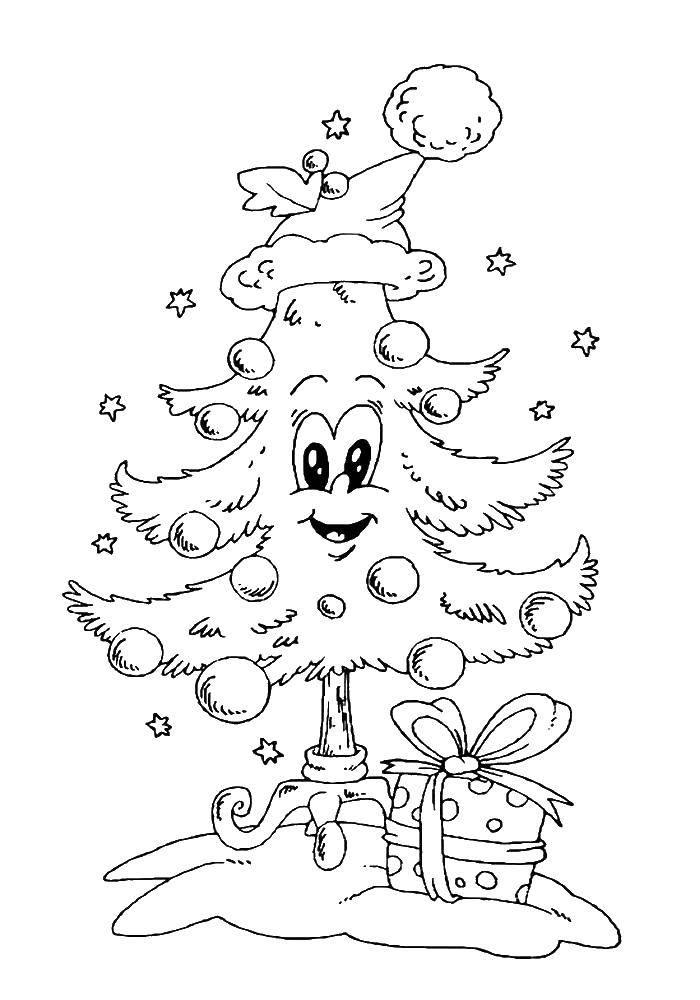 Раскраска Веселая елочка Скачать Рождество, елка, Новый год, подарки.  Распечатать ,новогодняя елка,