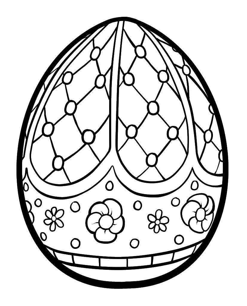 Раскраска Яйцо в горошек с цветочками. Скачать яйца, узоры, кружочки.  Распечатать ,Узоры для раскрашивания яиц,