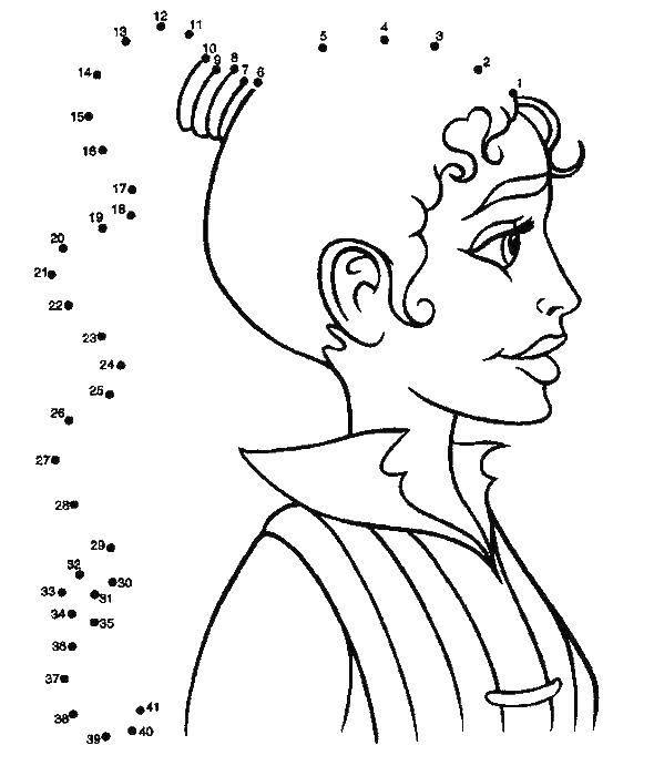 Раскраска Дорисуй по цифрам хвостик девушки Скачать нарисуй по цифрам, девушка.  Распечатать ,нарисуй по цифрам,