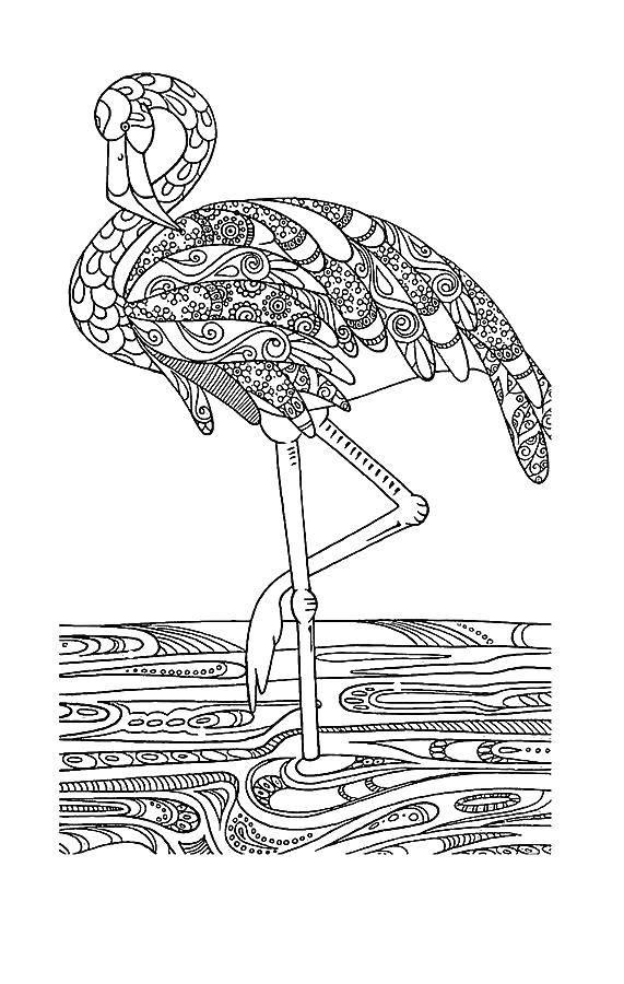 Раскраска Фламинго в узорах Скачать Антистресс.  Распечатать ,раскраски антистресс,