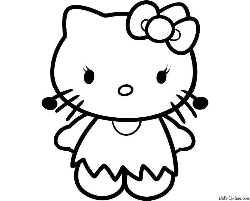 Раскраска Hello kitty с бантиком Скачать ,Hello Kitty, бантик, кошка,.  Распечатать