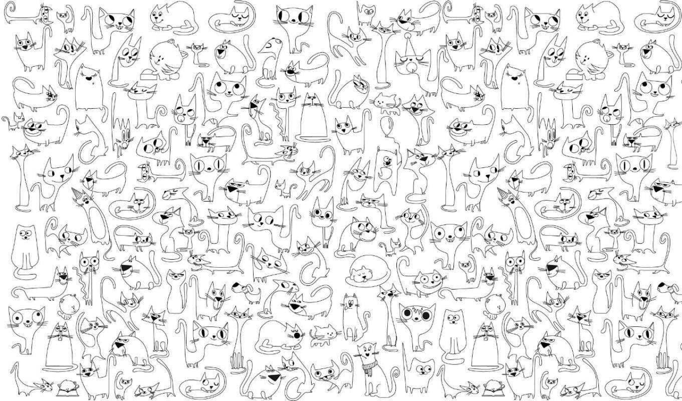 Раскраска Картинка из маленьких котиков Скачать картинка, котики.  Распечатать ,котики,