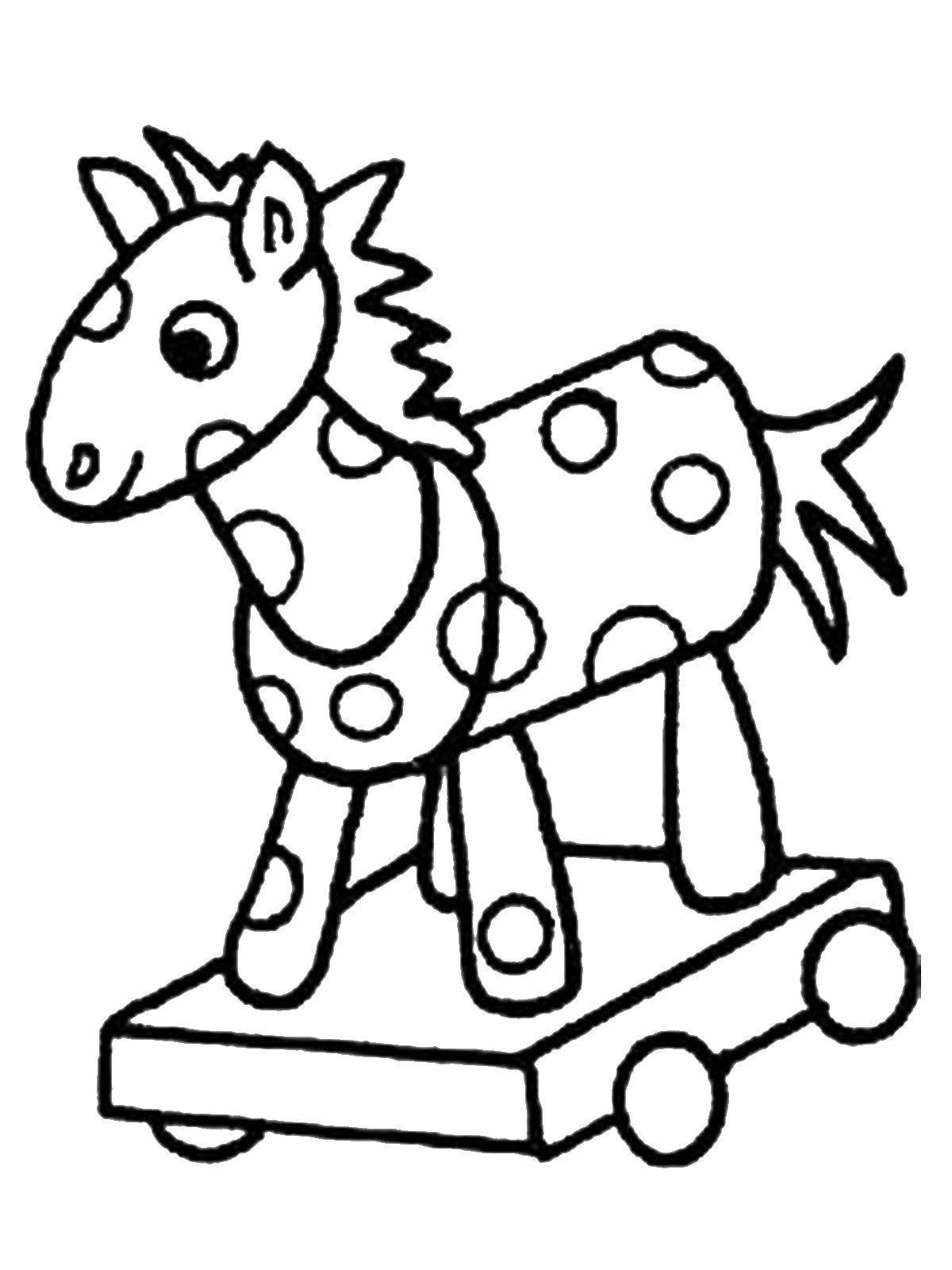 Раскраска Лошадка на колесиках Скачать лошадка, колесики.  Распечатать ,игрушки,