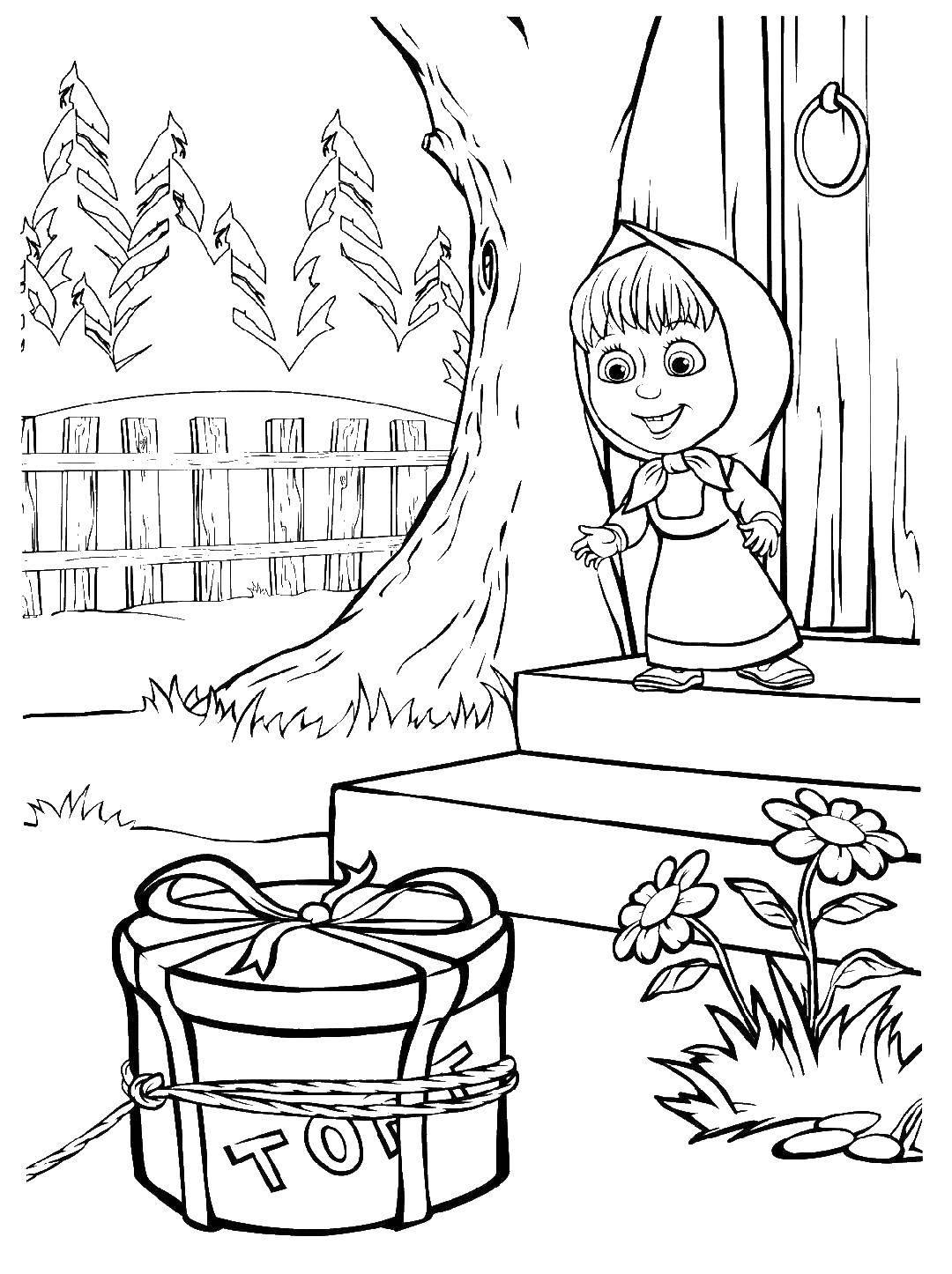 Раскраска Маша бежит за тортом Скачать Маша, Медведь.  Распечатать ,маша и медведь,