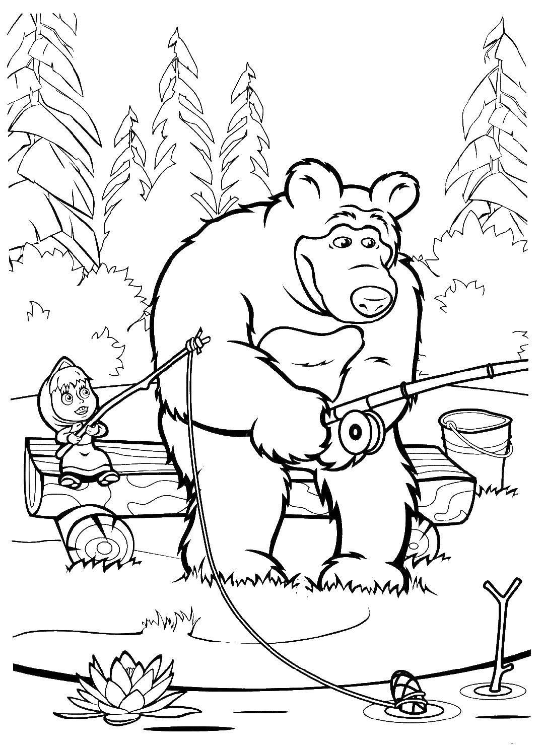 Раскраска маша и медведь Скачать парк развлечений, парки, билеты.  Распечатать ,раскраски,
