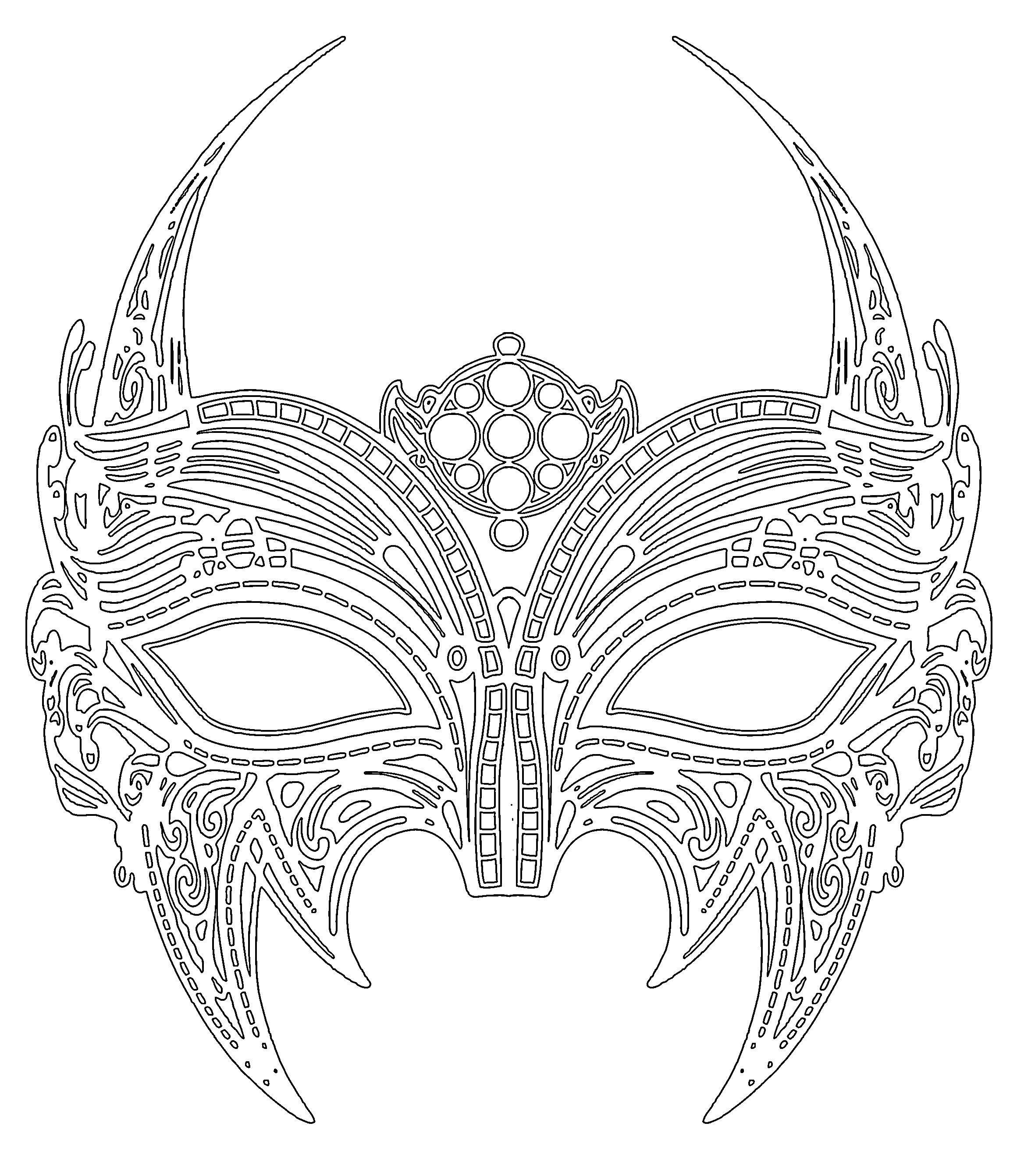 Раскраска Маска с узором. Скачать маска, узоры.  Распечатать ,маска,