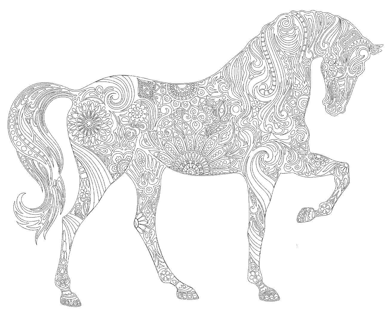 Раскраска  лошадь антистресс Скачать раскраски, антистресс, лошадь.  Распечатать ,раскраски антистресс,