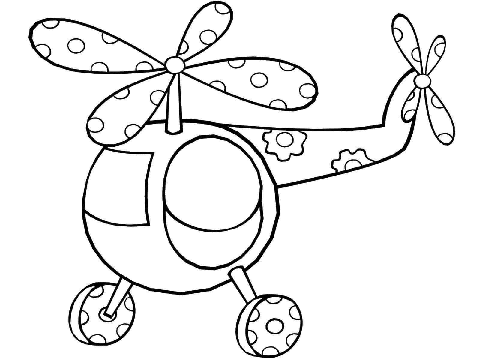 Раскраска Вертолет с цветочками. Скачать вертолет, пропеллер, цветы.  Распечатать ,игрушки,