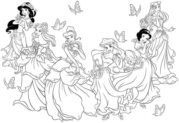 Раскраска Жасмин, бэлль, золушка, ариэль, белоснежка и аврора Скачать Дисней, принцесса.  Распечатать ,Диснеевские мультфильмы,