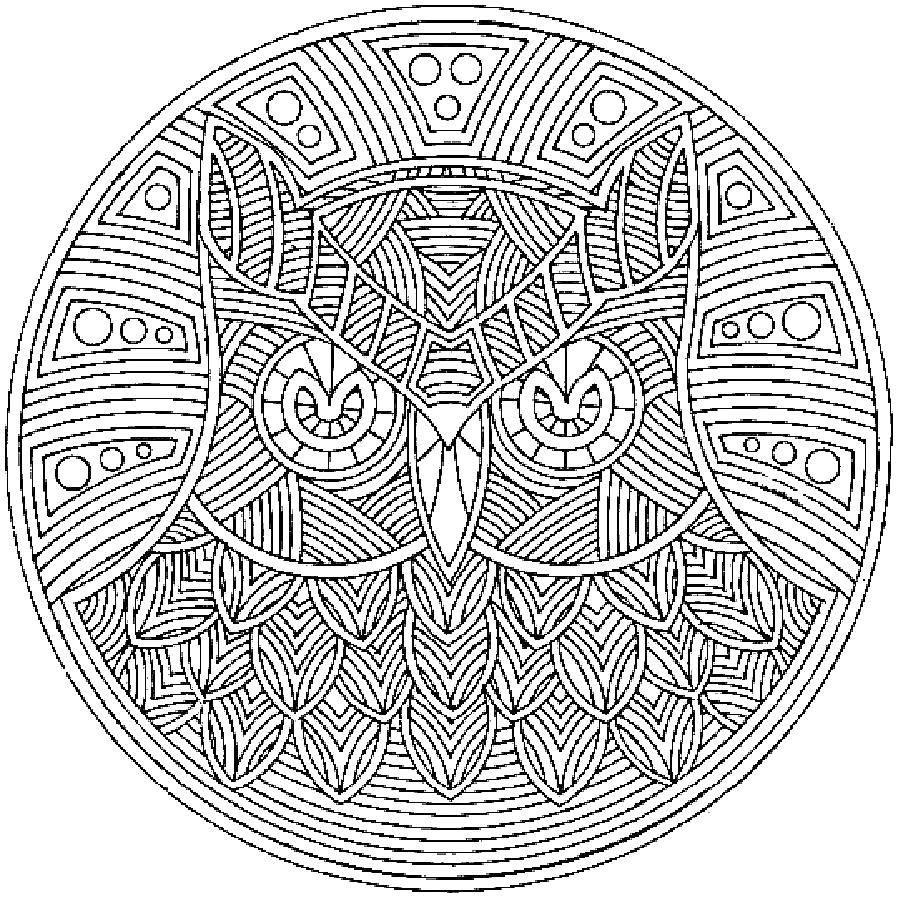 Раскраска Знак узором совы Скачать сова, антистресс.  Распечатать ,раскраски антистресс,