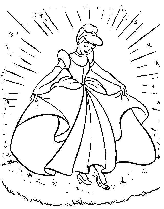 Раскраска Золушка Скачать принцессы, мультфильмы, сказки, Золушка, бал.  Распечатать ,Принцессы,