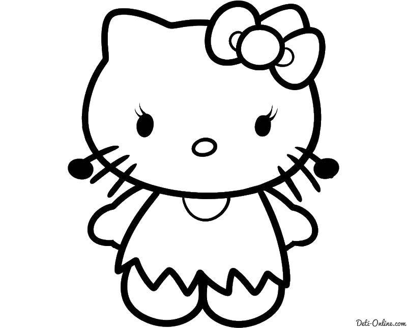 Раскраска Китти Скачать ,Hello Kitty, бантик, кошка,.  Распечатать